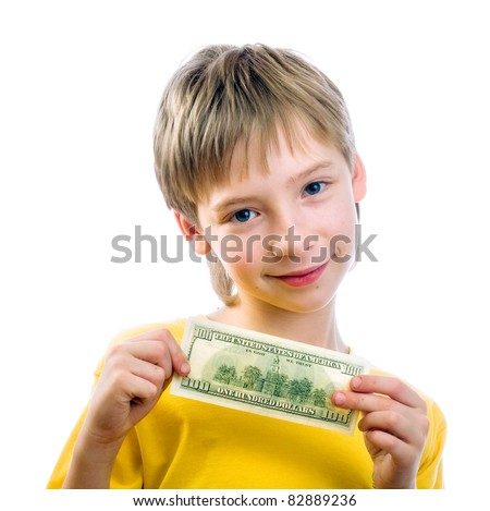 A child with a hundred dollar bill, the gift for my birthday - stock photo