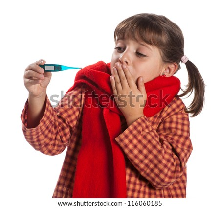 A child with fever is frightened for the high temperature - stock photo