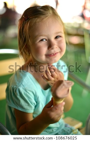 a child with ice cream - stock photo
