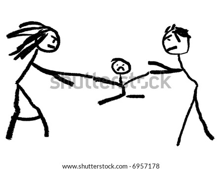 A childlike drawing illustrating divorce with the child be fought over in the middle. - stock photo