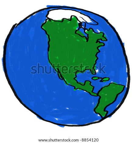 childlike drawing earth western hemisphere stock illustration rh shutterstock com Simple Earth Drawing Simple Earth Drawing