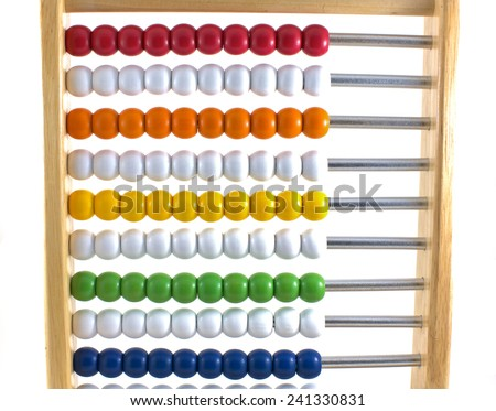 A children's abacus isolated on a white background.