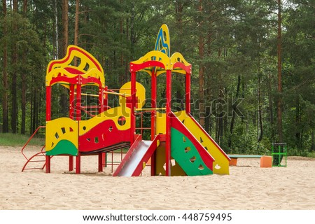 a children's playground on the beach