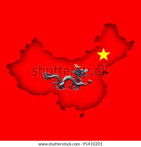 A Chinese dragon and five point yellow star symbol within the outline shape of the country of China. - stock photo