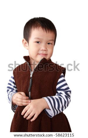a chinese small girl with white background