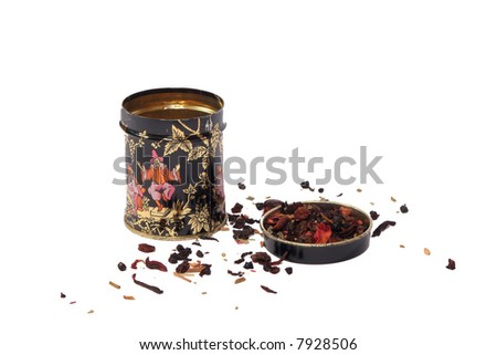 A chinese tea box with fruit tea - stock photo