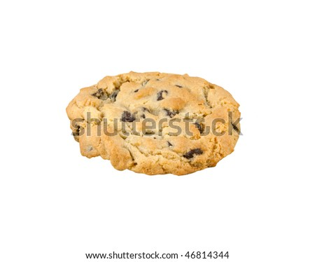 A chocolate chip cookie isolated on a white background.
