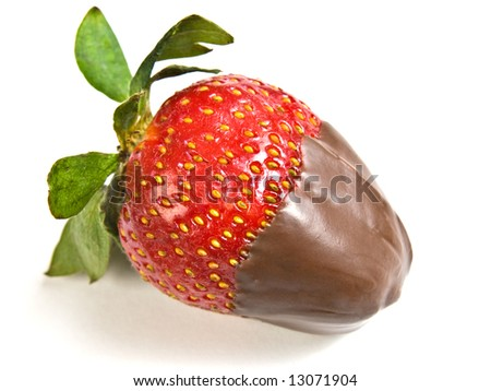 A chocolate covered strawberry isolated on white background - stock photo