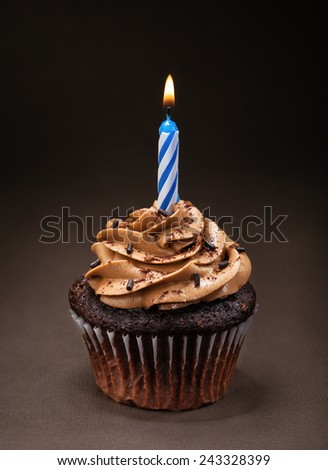 A chocolate cup cake with  icing, sprinkles and a lit birthday candle.