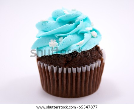 A chocolate cupcake decorated with blue icing and white snow flakes
