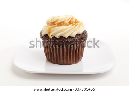 A chocolate cupcake in a plate. - stock photo