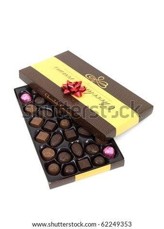 A chocolate gift box isolated against a white background - stock photo