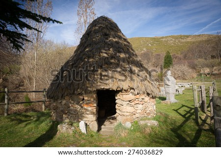 A Chozo, located in Tremedal town in Solana de Avila (Spain) is a primitive dwelling, which may be constructed of various local materials. - stock photo