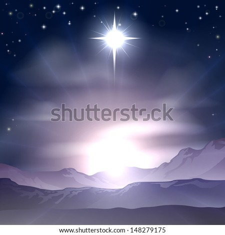 A Christian Christmas illustration of the Star of Bethlehem that the wise men followed over the dessert landscape. A Christmas Nativity landscape concept  - stock photo