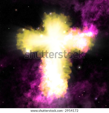 A christian cross nebula. - stock photo