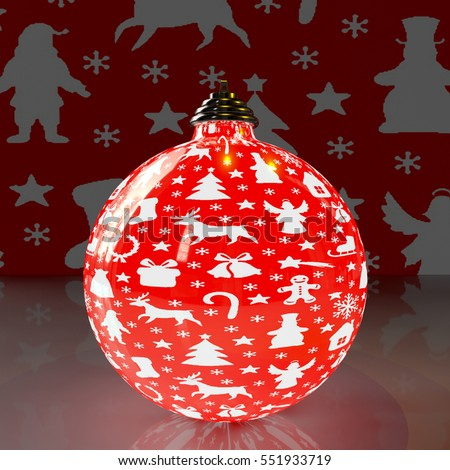 A Christmas ball, patterned with Christmas symbols