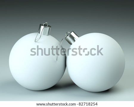 a christmas balls with silver tops - stock photo