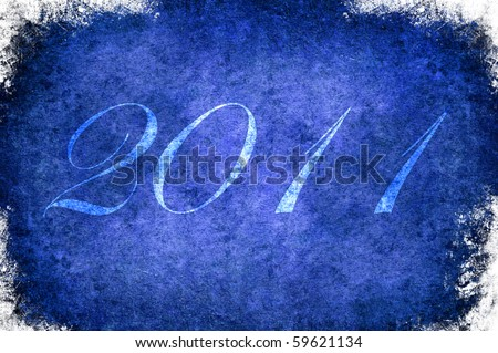 A Christmas blue frame with white border - stock photo