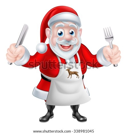 A Christmas cartoon illustration of Santa Claus cooking Christmas dinner and  holding a knife and fork in an apron - stock photo