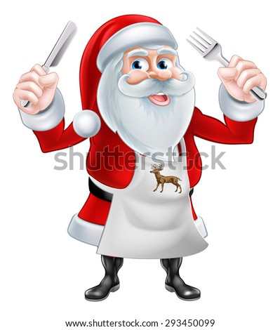 A Christmas cartoon illustration of Santa Claus holding a knife and fork and wearing an apron - stock photo