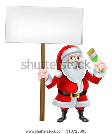 A Christmas cartoon illustration of Santa Claus holding sign and paintbrush