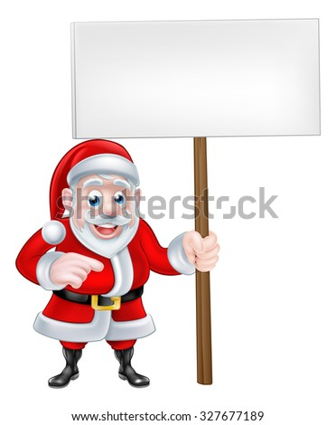 A Christmas cartoon of Santa Claus holding a sign and pointing - stock photo