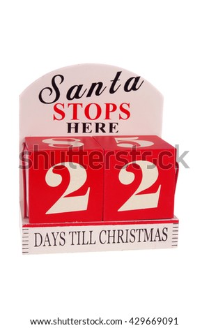 A christmas countdown ornament isolated on a white background - stock photo