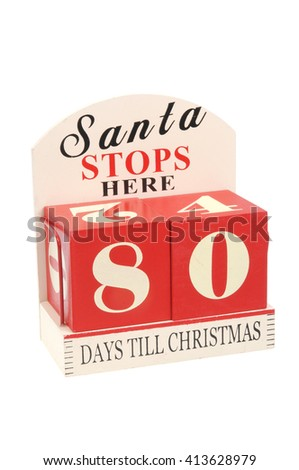 A christmas countdown ornament isolated on a white background 80 Days to Christmas - stock photo