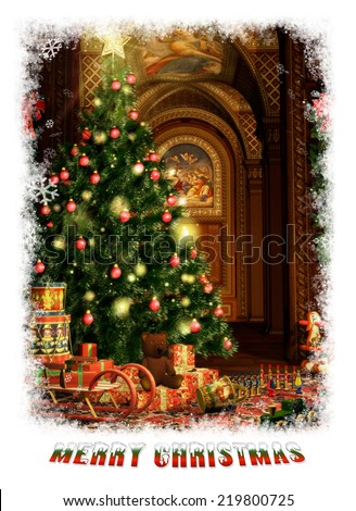 a christmas fir and christmas gifts in vintage style - stock photo