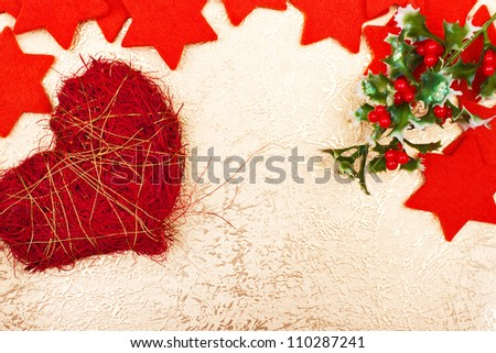 a christmas greeting card with red stars and heart