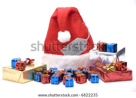 A christmas hat with gift boxes against a  white background.