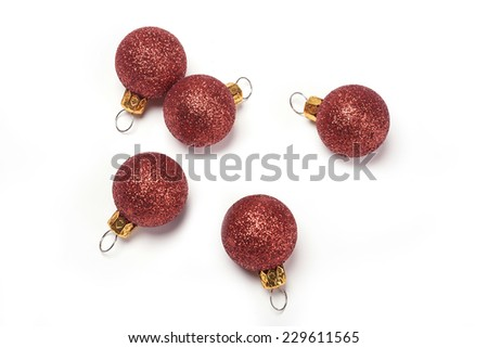A christmas red balls for gift isolated white, top view at the studio. - stock photo