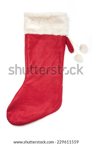 A christmas red socks for gift isolated white, top view at the studio. - stock photo