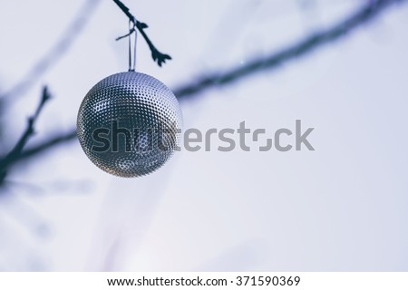 A Christmas sparkling silver ball hanging from a cherry tree branch