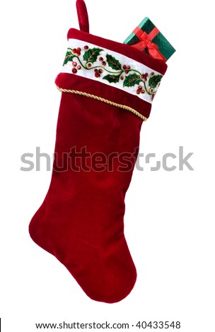 A Christmas stocking isolated on a white background, Christmas stocking - stock photo