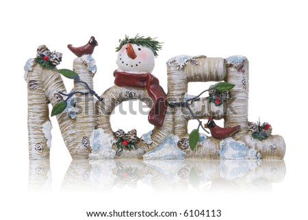 A Christmas themed noel sign with a snowman - stock photo
