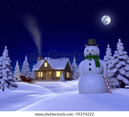... snow-scene-showing-snowman-cabin-and-snow-sleigh-at-night-59374222.jpg