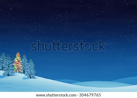A Christmas tree in a snowy Christmas landscape at night. The trees are covered in snow and one of the trees is lit by colourful Christmas lights.