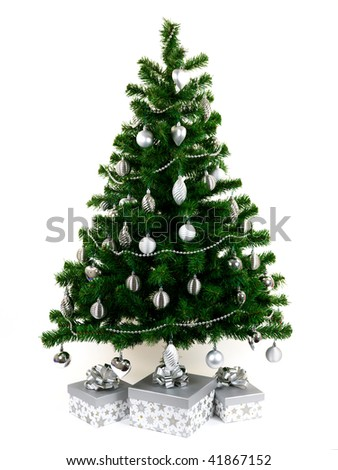 A Christmas tree isolated against a white background - stock photo