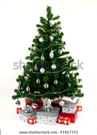A Christmas tree isolated against a white background