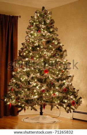 A Christmas tree stands in the corner of a room.