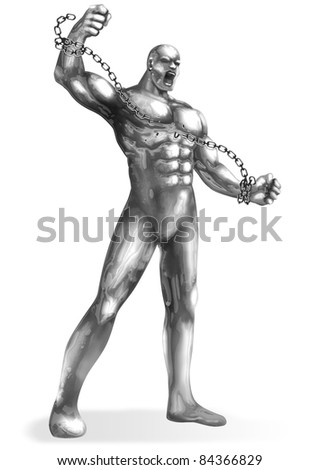 A Chrome man breaking the chains - stock photo