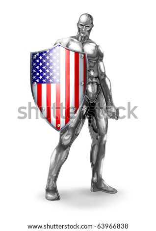 A chrome man holding a shield of American flag - stock photo
