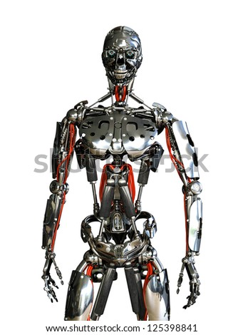 A chrome robot stands ready to do your bidding - 3D render. - stock photo