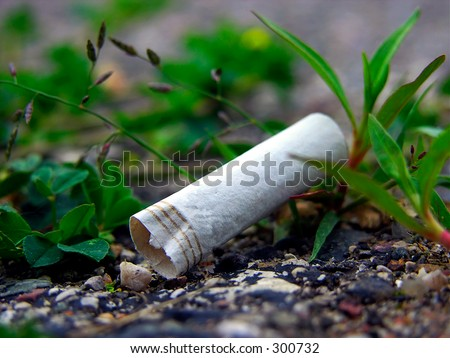 A cigarette butt litters the asphalt in an urban landscape in Lansing, Michigan (macro).