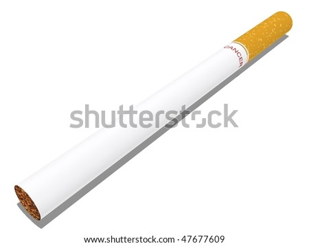 a cigarette isolated on white with cancer written as the brand
