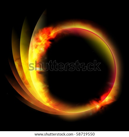 A circle fire ball is on a black background and there are lines coming out of the side. Can be used as an energy or space concept. - stock photo