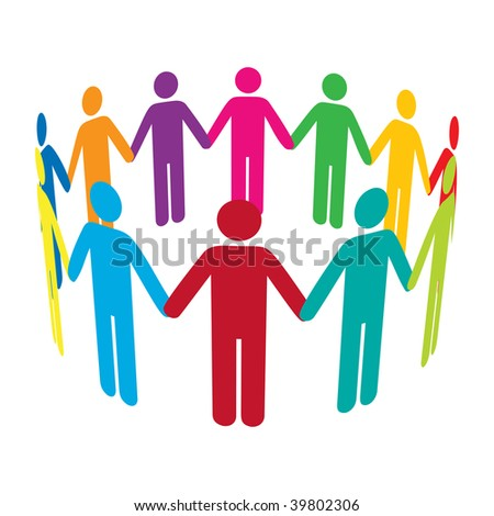 A circle of colourful men holding hands