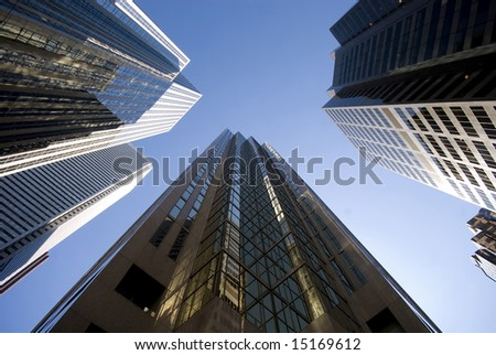 A circle of skyscrapers, downtown Toronto, Ontario, Canada. - stock photo