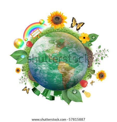 A circle of the Earth globe with atmosphere clouds on a white background. Various recycle and nature icons and symbols are around it from flowers to leaves to butterfly's.